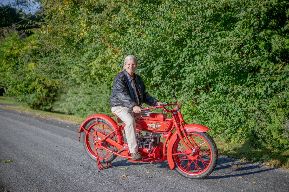 Mark Hunnibell on his 1919 Henderson Four