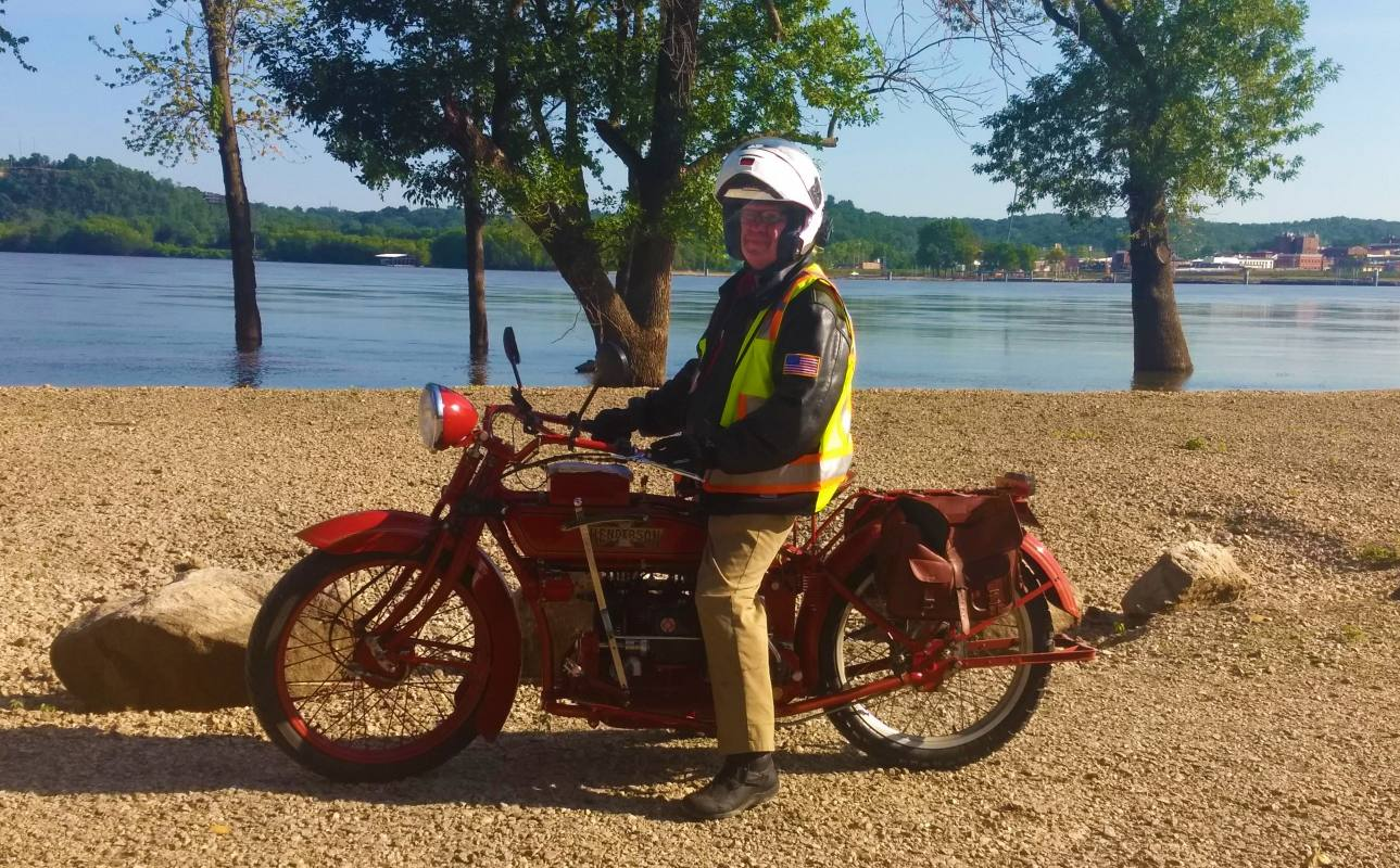 Mark Hunnibell on his 1919 Henderson Four on the east bank of the Mississippi River